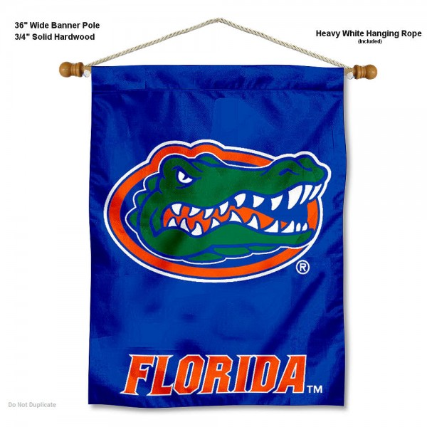 "Florida Gators Wall Banner is constructed of polyester material, measures a large 30""x40"", offers screen printed athletic logos, and includes a sturdy 3/4"" diameter and 36"" wide banner pole and hanging cord. Our Florida Gators Wall Banner is Officially Licensed by the selected college and NCAA."