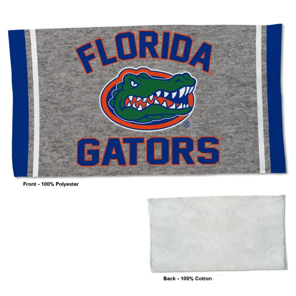 Florida Gators Workout Exercise Towel measures 22x42 inches, is made of 100% Polyester on the front and 100% Cotton on the back, has double stitched sewing perimeter, and Graphics and Logos, as shown. Our Florida Gators Workout Exercise Towel is officially licensed by the selected university and the NCAA. Also, machine washable and dryer safe.