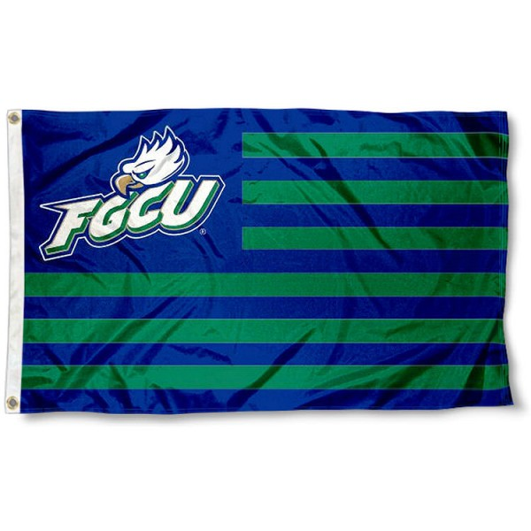 Florida Gulf Coast Eagles Stripes Flag measures 3'x5', is made of polyester, offers double stitched flyends for durability, has two metal grommets, and is viewable from both sides with a reverse image on the opposite side. Our Florida Gulf Coast Eagles Stripes Flag is officially licensed by the selected school university and the NCAA.