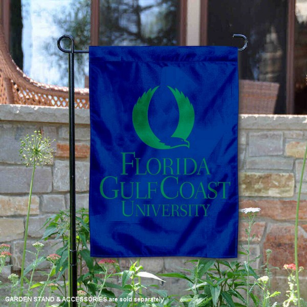 Florida Gulf Coast University Academic Logo Garden Flag is 13x18 inches in size, is made of 2-layer polyester, screen printed university athletic logos and lettering, and is readable and viewable correctly on both sides. Available same day shipping, our Florida Gulf Coast University Academic Logo Garden Flag is officially licensed and approved by the university and the NCAA.