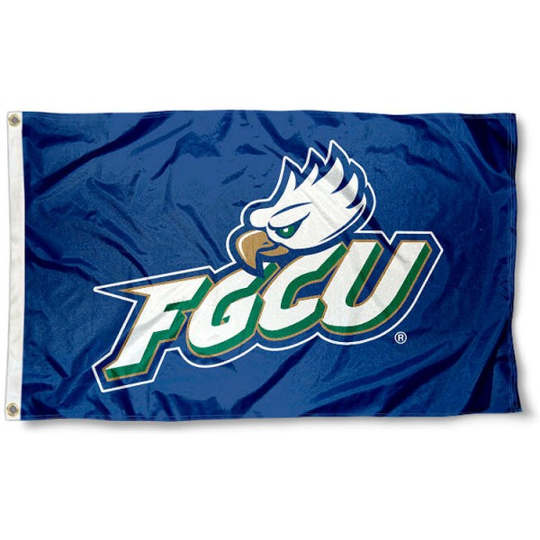 Florida Gulf Coast University Flag measures 3'x5', is made of 100% poly, has quadruple stitched sewing, two metal grommets, and has double sided Team University logos. Our FGCU Eagles 3x5 Flag is officially licensed by the selected university and the NCAA.