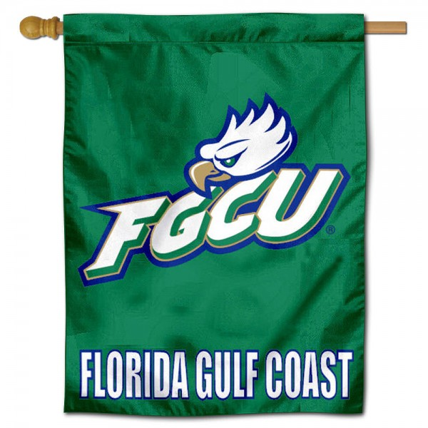 "Florida Gulf Coast University House Flag is constructed of polyester material, is a vertical house flag, measures 30""x40"", offers screen printed athletic insignias, and has a top pole sleeve to hang vertically. Our Florida Gulf Coast University House Flag is Officially Licensed by Florida Gulf Coast University and NCAA."