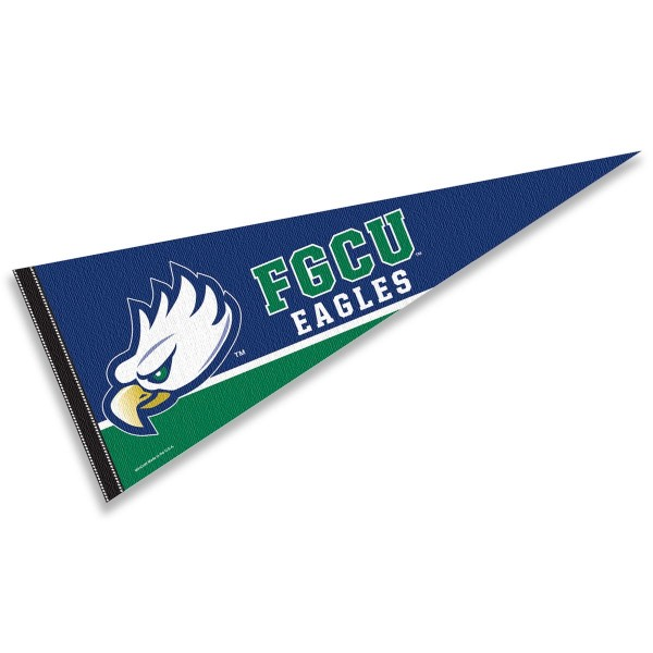 Florida Gulf Coast University Pennant consists of our full size sports pennant which measures 12x30 inches, is constructed of felt, is single sided imprinted, and offers a pennant sleeve for insertion of a pennant stick, if desired. This Florida Gulf Coast Eagles Pennant Decorations is Officially Licensed by the selected university and the NCAA.