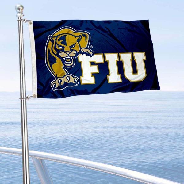 Florida International Panthers Boat and Mini Flag is 12x18 inches, polyester, offers quadruple stitched flyends for durability, has two metal grommets, and is double sided. Our mini flags for Florida International Panthers are licensed by the university and NCAA and can be used as a boat flag, motorcycle flag, golf cart flag, or ATV flag.