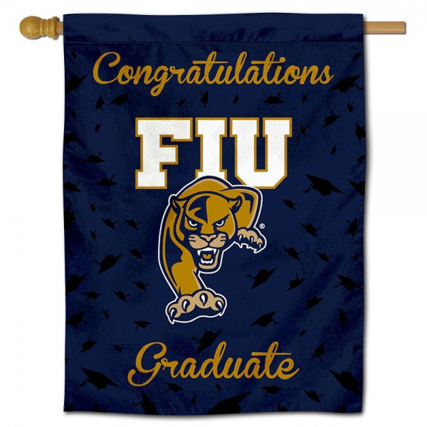 Florida International Panthers Congratulations Graduate Flag measures 30x40 inches, is made of poly, has a top hanging sleeve, and offers dye sublimated Florida International Panthers logos. This Decorative Florida International Panthers Congratulations Graduate House Flag is officially licensed by the NCAA.
