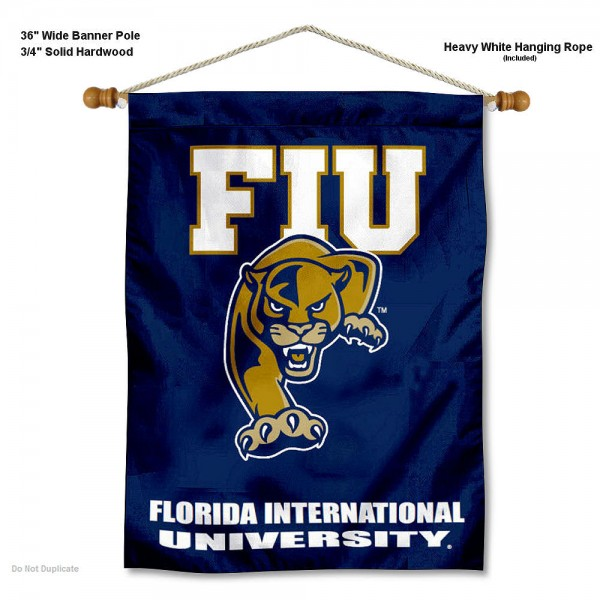 "Florida International Panthers Wall Banner is constructed of polyester material, measures a large 30""x40"", offers screen printed athletic logos, and includes a sturdy 3/4"" diameter and 36"" wide banner pole and hanging cord. Our Florida International Panthers Wall Banner is Officially Licensed by the selected college and NCAA."