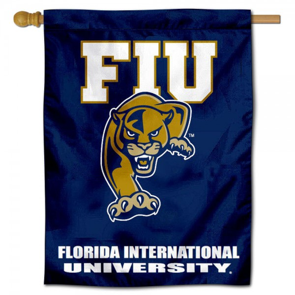 "Florida International University House Flag is constructed of polyester material, is a vertical house flag, measures 30""x40"", offers screen printed athletic insignias, and has a top pole sleeve to hang vertically. Our Florida International University House Flag is Officially Licensed by Florida International University and NCAA."