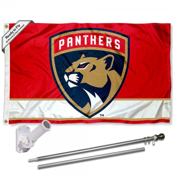Our Florida Panthers Flag Pole and Bracket Kit includes the flag as shown and the recommended flagpole and flag bracket. The flag is made of polyester, has quad-stitched flyends, and the NHL Licensed team logos are double sided screen printed. The flagpole and bracket are made of rust proof aluminum and includes all hardware so this kit is ready to install and fly.