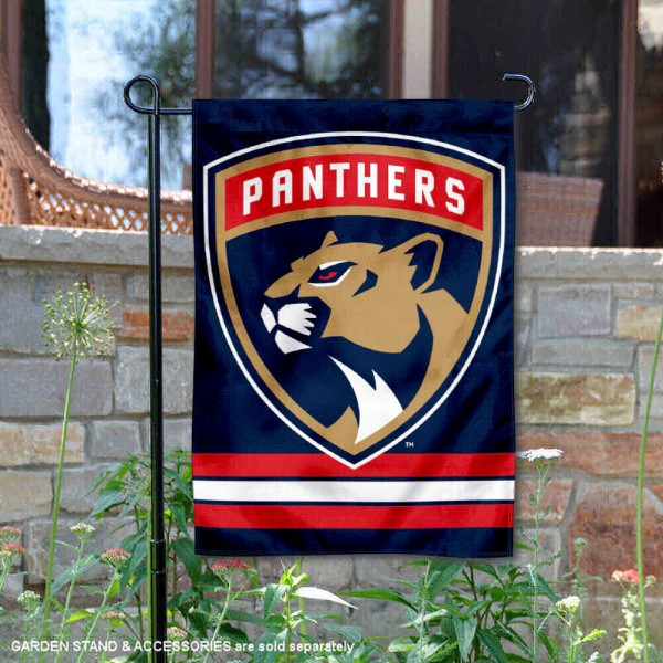 Florida Panthers Garden Flag is 12.5x18 inches in size, is made of 2-ply polyester, and has two sided screen printed logos and lettering. Available with Express Next Day Ship, our Florida Panthers Garden Flag is NHL Officially Licensed and is double sided.