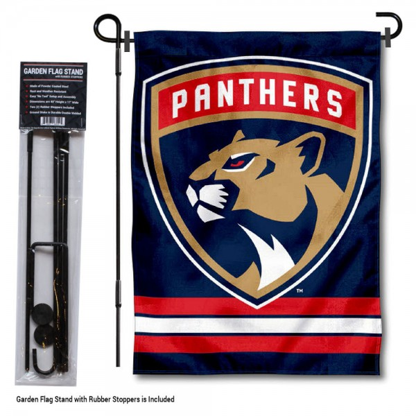 "Florida Panthers Garden Flag and Flagpole Stand kit includes our 12.5""x18"" garden banner which is made of 2 ply poly with liner and has screen printed licensed logos. Also, a 40""x17"" inch garden flag stand is included so your Florida Panthers Garden Flag and Flagpole Stand is ready to be displayed with no tools needed for setup. Fast Overnight Shipping is offered and the flag is Officially Licensed and Approved by the selected team."
