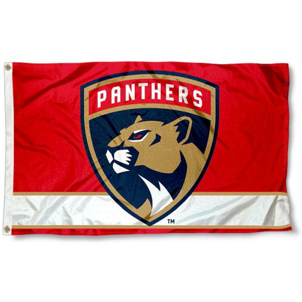 The Florida Panthers New Logo Flag is four-stitched bordered, double sided, made of poly, 3'x5', and has two grommets. These Florida Panthers New Logo Flags are NHL Genuine Merchandise.