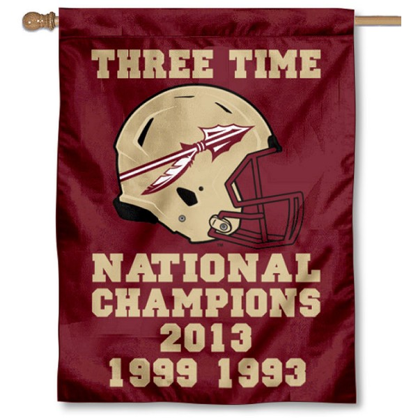 Florida State Seminoles 3 Time Football Champions House Flag is a vertical house flag which measures 30x40 inches, is made of 2 ply 100% polyester, offers screen printed NCAA team insignias, and has a top pole sleeve to hang vertically. Our Florida State Seminoles 3 Time Football Champions House Flag is officially licensed by the selected university and the NCAA.