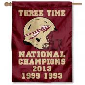 Florida State Seminoles 3 Time Football Champions House Flag