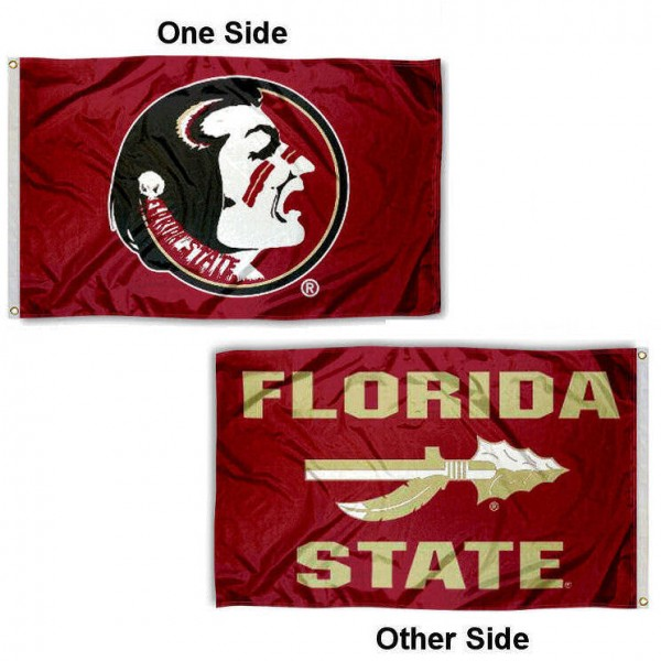 Florida State Seminoles Arrow Double Sided Flag measures 3x5, is made thick 100% polyester, has two stitched flyends for durability, and is readable correctly on both sides. Our Florida State Seminoles Arrow Double Sided Flag is officially licensed by the university, school, and the NCAA.