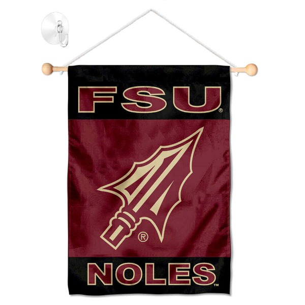 """Florida State Seminoles Banner with Suction Cup kit includes our 13""""x18"""" garden banner which is made of 2 ply poly with liner and has screen printed licensed logos. Also, a 17"""" wide banner pole with suction cup is included so your Florida State Seminoles Banner with Suction Cup is ready to be displayed with no tools needed for setup. Fast Overnight Shipping is offered and the flag is Officially Licensed and Approved by the selected team."""