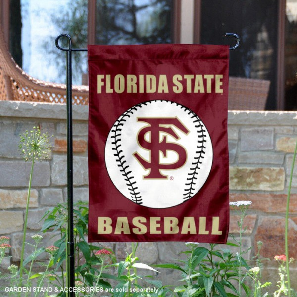 Florida State Seminoles Baseball Team Garden Flag is 13x18 inches in size, is made of 2-layer polyester, screen printed Florida State University Baseball athletic logos and lettering. Available with Express Shipping, Our Florida State Seminoles Baseball Team Garden Flag is officially licensed and approved by Florida State University Baseball and the NCAA.