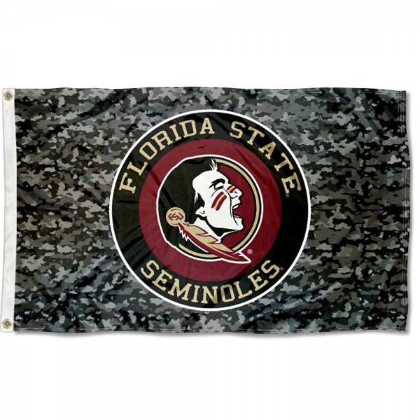 Florida State Seminoles Camo Flag measures 3x5 feet, is made of 100% polyester, offers quadruple stitched flyends, has two metal grommets, and offers screen printed NCAA team logos and insignias. Our Florida State Seminoles Camo Flag is officially licensed by the selected university and NCAA.