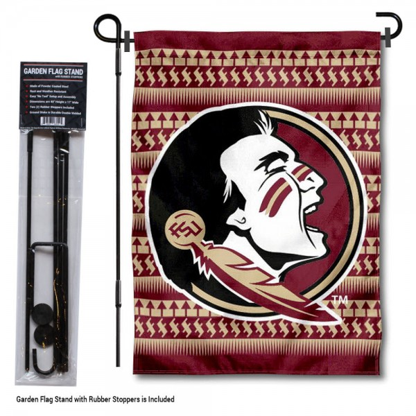 "Florida State Seminoles Chevron Garden Flag and Stand kit includes our 13""x18"" garden banner which is made of 2 ply poly with liner and has screen printed licensed logos. Also, a 40""x17"" inch garden flag stand is included so your Florida State Seminoles Chevron Garden Flag and Stand is ready to be displayed with no tools needed for setup. Fast Overnight Shipping is offered and the flag is Officially Licensed and Approved by the selected team."