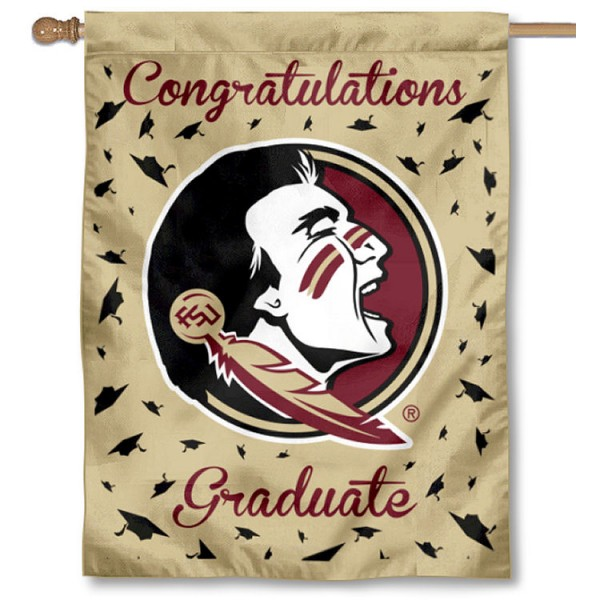 Florida State Seminoles Congratulations Graduate Flag measures 30x40 inches, is made of poly, has a top hanging sleeve, and offers dye sublimated Florida State Seminoles logos. This Decorative Florida State Seminoles Congratulations Graduate House Flag is officially licensed by the NCAA.