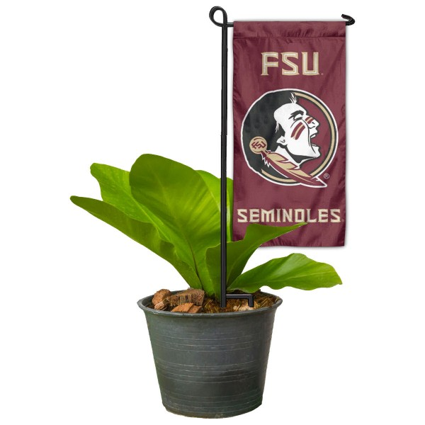 "Florida State Seminoles Flower Pot Topper Flag kit includes our 4""x8"" mini garden banner and 6"" x 14"" mini garden banner stand. The mini flag is made of 1-ply polyester, has screen printed logos and the garden stand is made of steel and powder coated black. This kit is NCAA Officially Licensed by the selected college or university."