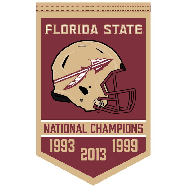 Florida State Seminoles Football National Champions Banner consists of our sports dynasty year banner which measures 15x24 inches, is constructed of rigid felt, is single sided imprinted, and offers a pennant sleeve for insertion of a pennant stick, if desired. This sports banner is a unique collectible and keepsake of the legacy game and is Officially Licensed and University, School, and College Approved.