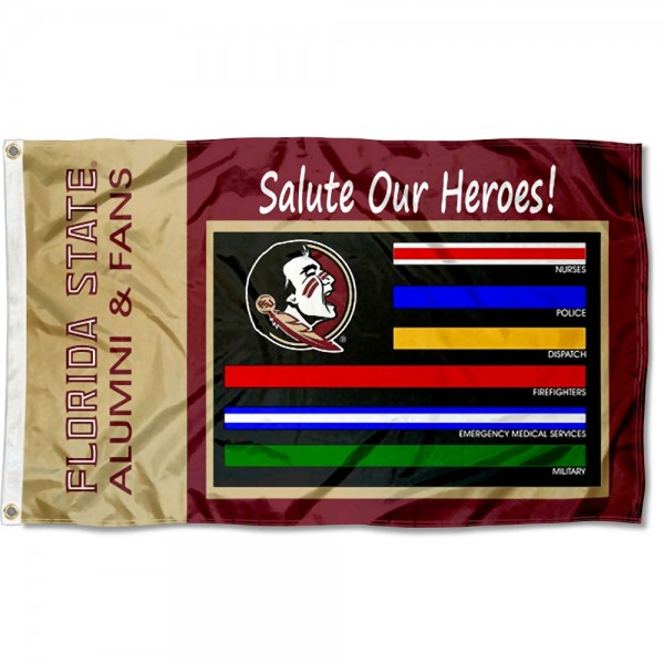 Florida State Seminoles Frontline Workers Flag measures 3x5 feet, is made of 100% polyester, offers quadruple stitched flyends, has two metal grommets, and offers screen printed NCAA team logos and insignias. Our Florida State Seminoles Frontline Workers Flag is officially licensed by the selected university and NCAA.