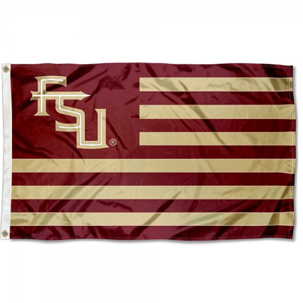 Florida State Seminoles FSU Stripes Flag measures 3'x5', is made of polyester, offers double stitched flyends for durability, has two metal grommets, and is viewable from both sides with a reverse image on the opposite side. Our Florida State Seminoles FSU Stripes Flag is officially licensed by the selected school university and the NCAA.