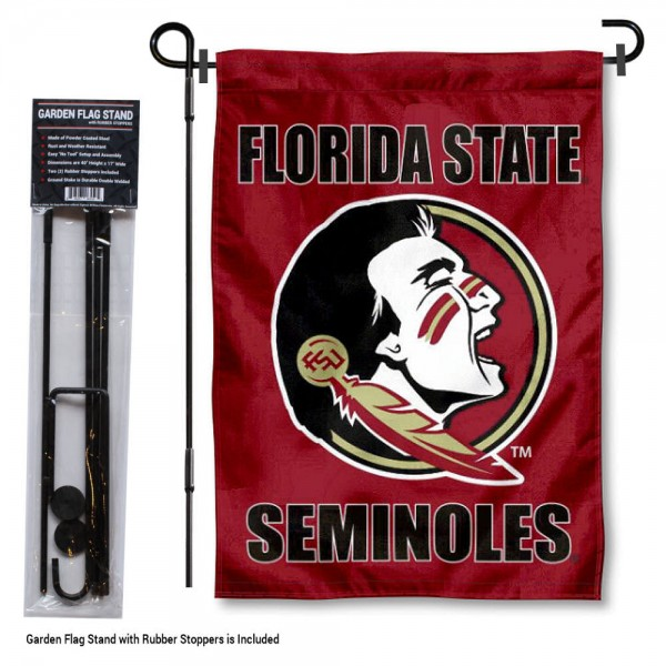 "Florida State Seminoles Garden Flag and Stand kit includes our 13""x18"" garden banner which is made of 2 ply poly with liner and has screen printed licensed logos. Also, a 40""x17"" inch garden flag stand is included so your Florida State Seminoles Garden Flag and Stand is ready to be displayed with no tools needed for setup. Fast Overnight Shipping is offered and the flag is Officially Licensed and Approved by the selected team."