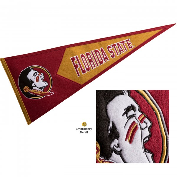 Florida State Seminoles Genuine Wool Pennant consists of our full size 13x32 inch Winning Streak Sports wool college pennant. The logos, lettering and insignia is quality embroidered and appliqued, feature a alternate logo color header, and has sewn wool perimeter. This Florida State Seminoles College Pennant Pennant is Officially Licensed and University Approved with Overnight Next Day Shipping.