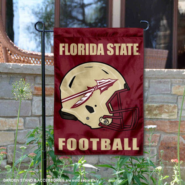Florida State Seminoles Helmet Yard Garden Flag is 13x18 inches in size, is made of 2-layer polyester with Liner, screen printed university athletic logos and lettering, and is readable and viewable correctly on both sides. Available same day shipping, our Florida State Seminoles Helmet Yard Garden Flag is officially licensed and approved by the university and the NCAA.