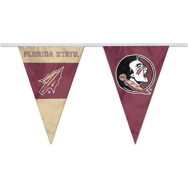 Florida State Seminoles Pennant String Flags are 35 feet in total length, are made of polyester, includes 12x8 inch streamers, and are screen printed. Each is Offically Licensed.
