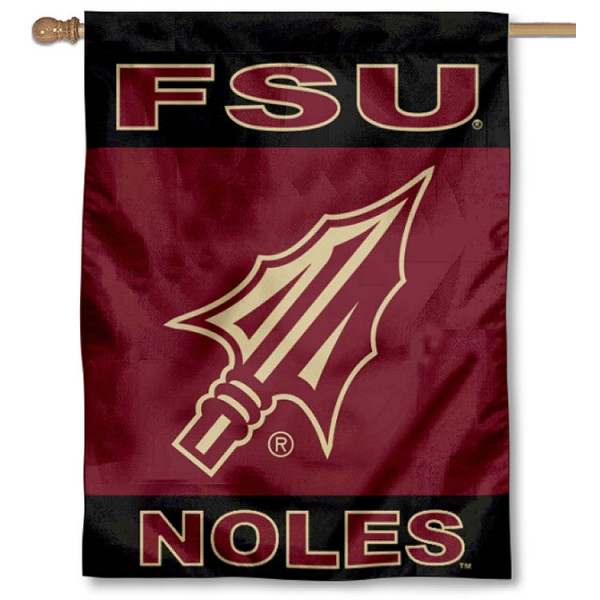 Florida State Seminoles Spearhead Double Sided House Flag is a vertical house flag which measures 30x40 inches, is made of 2 ply 100% polyester, offers screen printed NCAA team insignias, and has a top pole sleeve to hang vertically. Our Florida State Seminoles Spearhead Double Sided House Flag is officially licensed by the selected university and the NCAA.