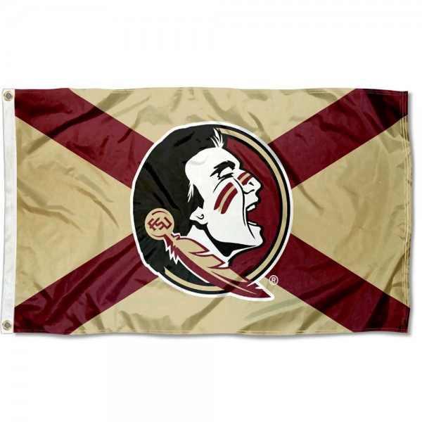 Florida State Seminoles State of FL Flag measures 3x5 feet, is made of 100% polyester, offers quadruple stitched flyends, has two metal grommets, and offers screen printed NCAA team logos and insignias. Our Florida State Seminoles State of FL Flag is officially licensed by the selected university and NCAA.
