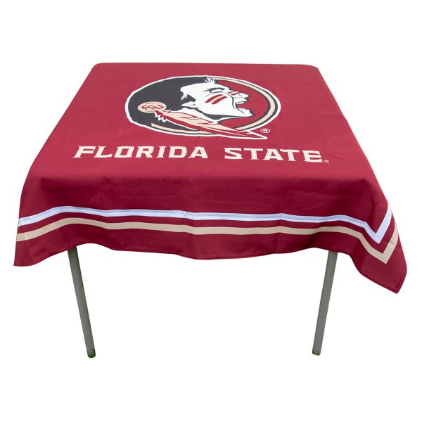 Florida State Seminoles Table Cloth measures 48 x 48 inches, is made of 100% Polyester, seamless one-piece construction, and is perfect for any tailgating table, card table, or wedding table overlay. Each includes Officially Licensed Logos and Insignias.