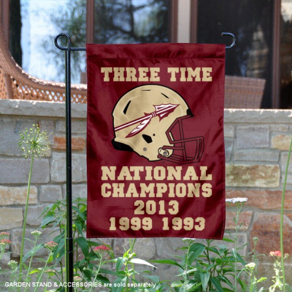 Florida State Seminoles Three Time Football Champions Garden Flag is 13x18 inches in size, is made of 2-layer polyester, screen printed university athletic logos and lettering, and is readable and viewable correctly on both sides. Available same day shipping, our Florida State Seminoles Three Time Football Champions Garden Flag is officially licensed and approved by the university and the NCAA.