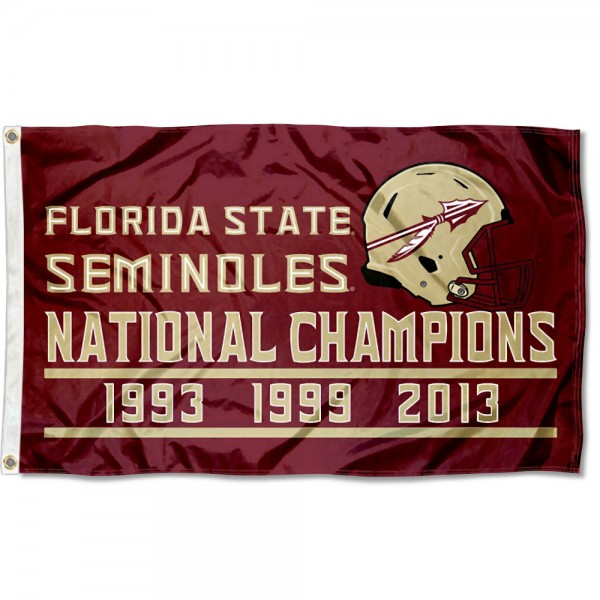 Florida State Seminoles Three Time Football National Champions Flag measures 3x5 feet, is made of 100% polyester, offers quadruple stitched flyends, has two metal grommets, and offers screen printed NCAA team logos and insignias. Our Florida State Seminoles Three Time Football National Champions Flag is officially licensed by the selected university and NCAA.