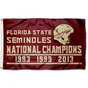 Florida State Seminoles Three Time Football National Champions Flag