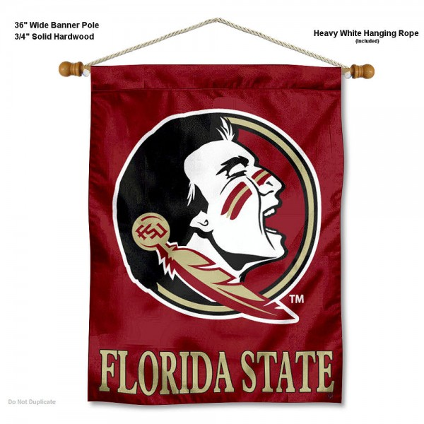 "Florida State Seminoles Wall Banner is constructed of polyester material, measures a large 30""x40"", offers screen printed athletic logos, and includes a sturdy 3/4"" diameter and 36"" wide banner pole and hanging cord. Our Florida State Seminoles Wall Banner is Officially Licensed by the selected college and NCAA."
