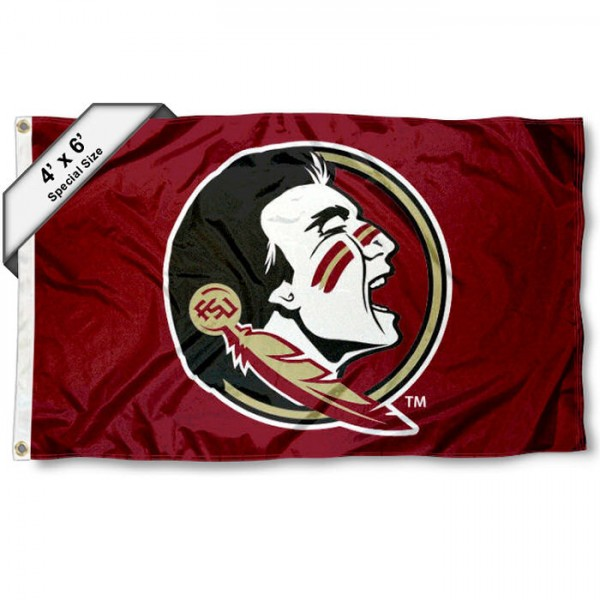 Florida State University 4x6 Flag measures 4x6 feet, is made thick woven polyester, has quadruple stitched flyends, two metal grommets, and offers screen printed NCAA Florida State University athletic logos and insignias. Our Florida State University 4x6 Flag is officially licensed by Florida State University and the NCAA.