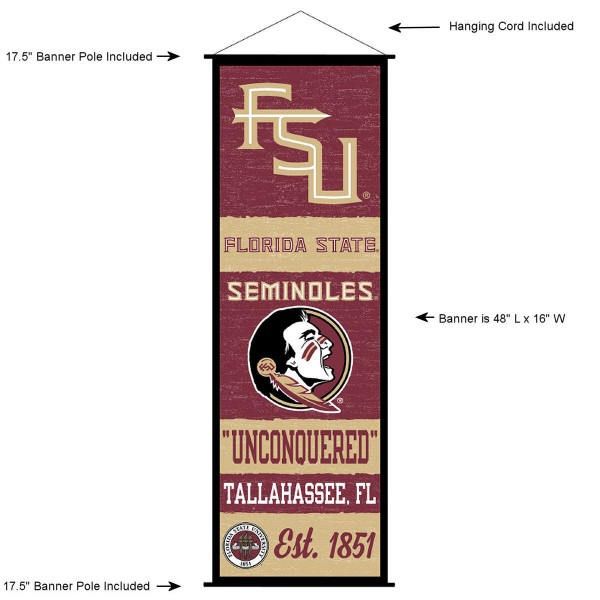 "This ""ready to hang"" Florida State University Decor and Banner is made of polyester material, measures a large 17.5"" x 48"", offers screen printed athletic logos, and includes both top and bottom 3/4"" diameter plastic banner poles and hanging cord. Our Florida State University D�cor and Banner is Officially Licensed by the selected college and NCAA."