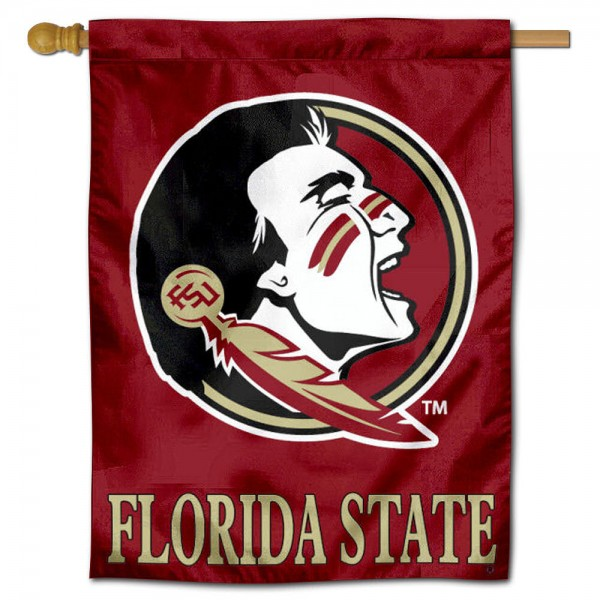 "Florida State University Decorative Flag is constructed of polyester material, is a vertical house flag, measures 30""x40"", offers screen printed athletic insignias, and has a top pole sleeve to hang vertically. Our Florida State University Decorative Flag is Officially Licensed by Florida State University and NCAA."