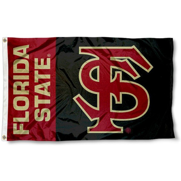 Florida State University FSU Flag measures 3'x5', is made of 100% poly, has quadruple stitched sewing, two metal grommets, and has double sided Florida State University logos. Our Florida State University FSU Flag is officially licensed by Florida State University and the NCAA.