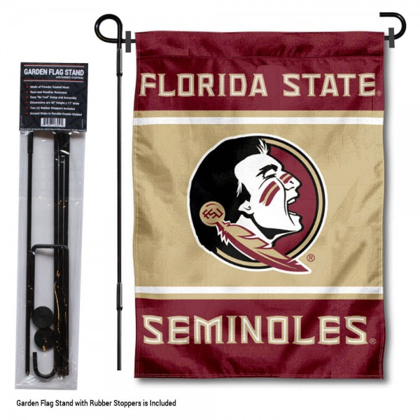 "Florida State University Garden Flag and Stand kit includes our 13""x18"" garden banner which is made of 2 ply poly with liner and has screen printed licensed logos. Also, a 40""x17"" inch garden flag stand is included so your Florida State University Garden Flag and Stand is ready to be displayed with no tools needed for setup. Fast Overnight Shipping is offered and the flag is Officially Licensed and Approved by the selected team."