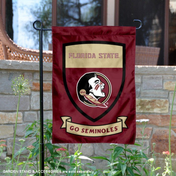 Florida State University Go Seminoles Shield Garden Flag is 13x18 inches in size, is made of 2-layer polyester, screen printed university athletic logos and lettering, and is readable and viewable correctly on both sides. Available same day shipping, our Florida State University Go Seminoles Shield Garden Flag is officially licensed and approved by the university and the NCAA.