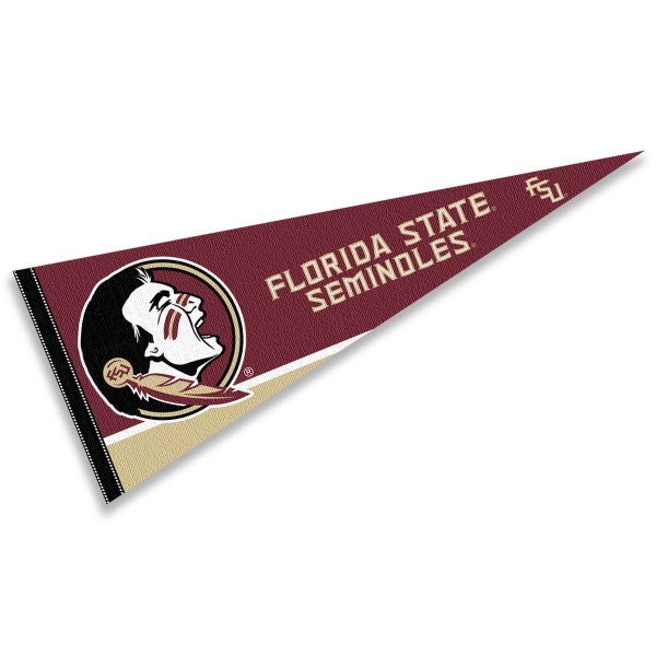 Florida State University Pennant consists of our full size sports pennant which measures 12x30 inches, is constructed of felt, is single sided imprinted, and offers a pennant sleeve for insertion of a pennant stick, if desired. This FSU Seminoles Pennant Decorations is Officially Licensed by the selected university and the NCAA.