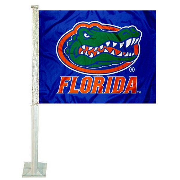 Florida UF Gators Blue Car Window Flag measures 12x15 inches, is constructed of sturdy 2 ply polyester, and has screen printed school logos which are readable and viewable correctly on both sides. Florida UF Gators Blue Car Window Flag is officially licensed by the NCAA and selected university.