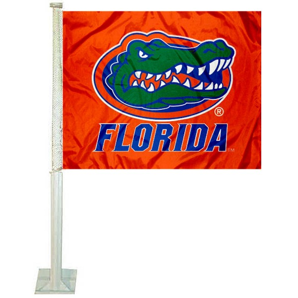 Florida UF Gators Car Window Flag measures 12x15 inches, is constructed of sturdy 2 ply polyester, and has screen printed school logos which are readable and viewable correctly on both sides. Florida UF Gators Car Window Flag is officially licensed by the NCAA and selected university.