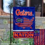Florida UF Gators Garden Flag with USA Country Stars and Stripes