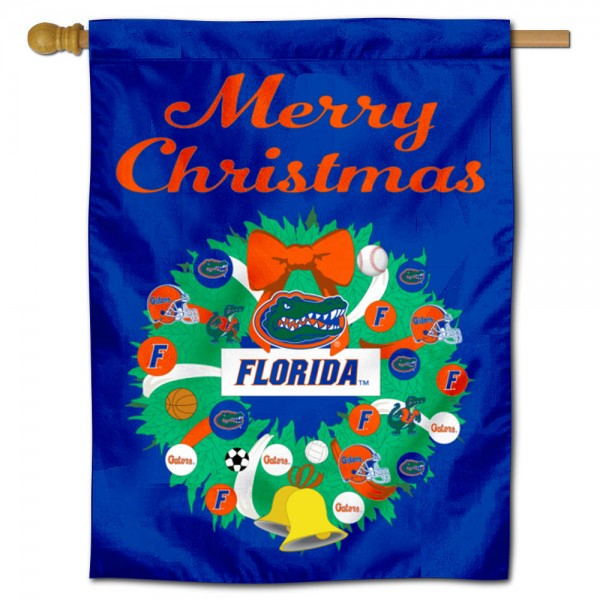 Florida UF Gators Happy Holidays Banner Flag measures 30x40 inches, is made of poly, has a top hanging sleeve, and offers dye sublimated Florida UF Gators logos. This Decorative Florida UF Gators Happy Holidays Banner Flag is officially licensed by the NCAA.