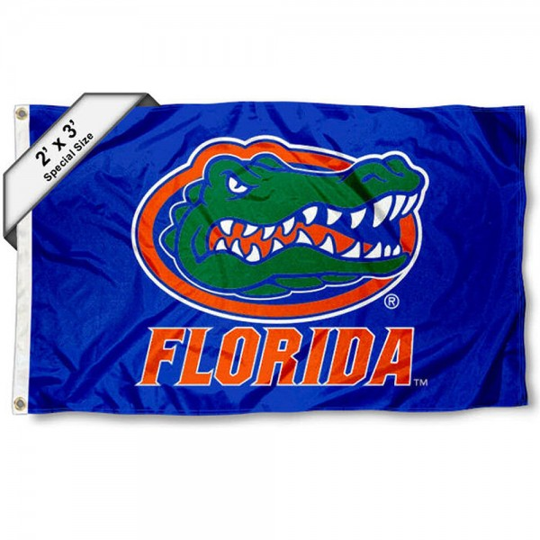 Florida UF Gators Small 2'x3' Flag measures 2x3 feet, is made of 100% polyester, offers quadruple stitched flyends, has two brass grommets, and offers printed Florida UF Gators logos, letters, and insignias. Our 2x3 foot flag is Officially Licensed by the selected university.